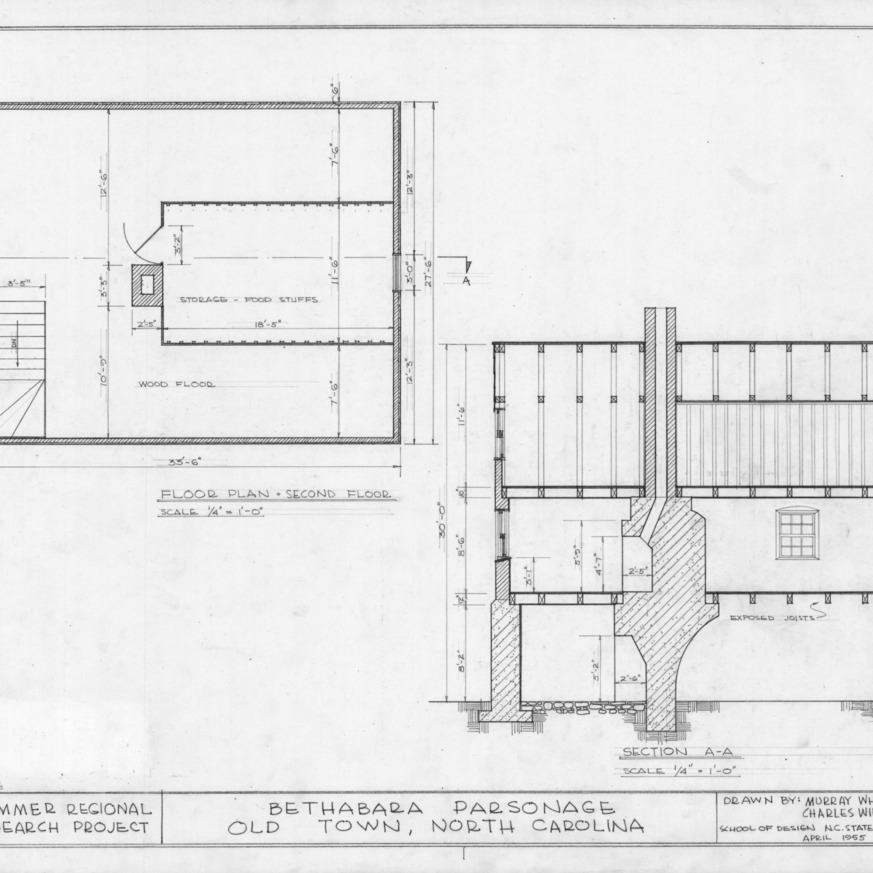 Floor plan and section, Brewer's House, Winston-Salem, North Carolina