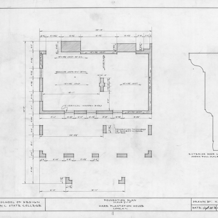 Foundation plan and detail, Hare Plantation, Como, North Carolina
