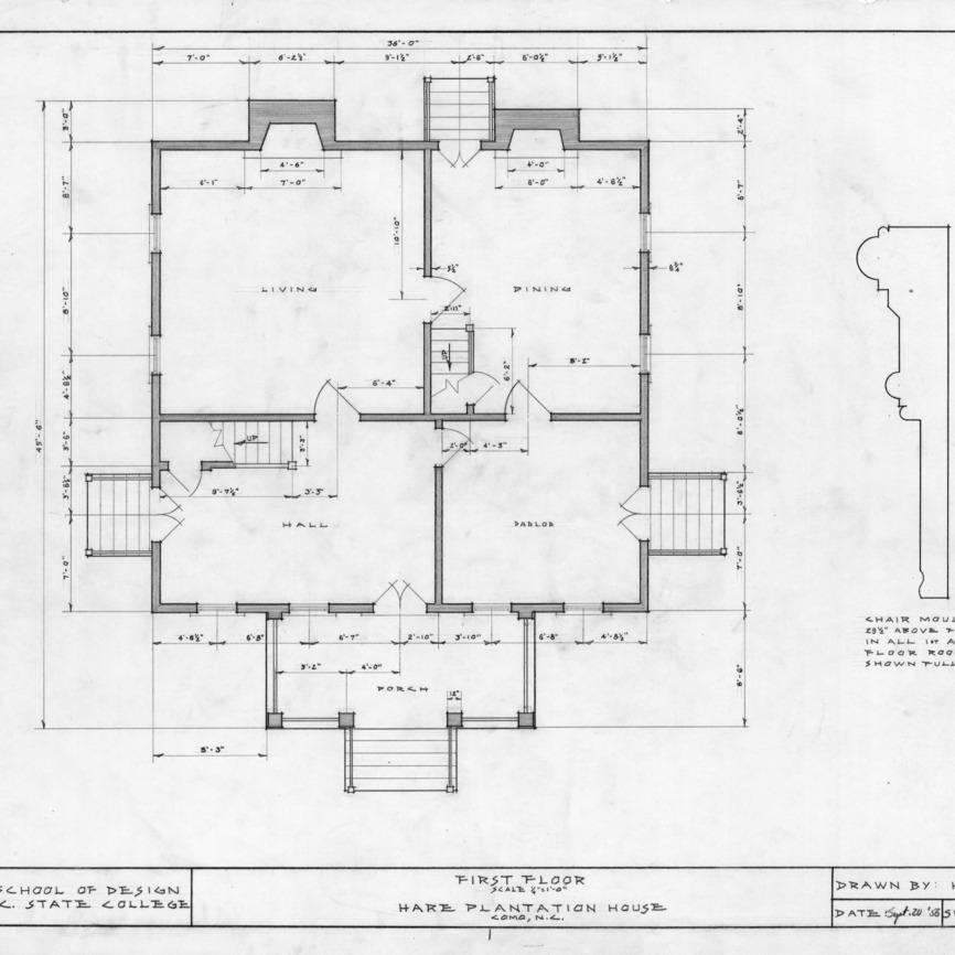 First floor plan and detail, Hare Plantation, Como, North Carolina