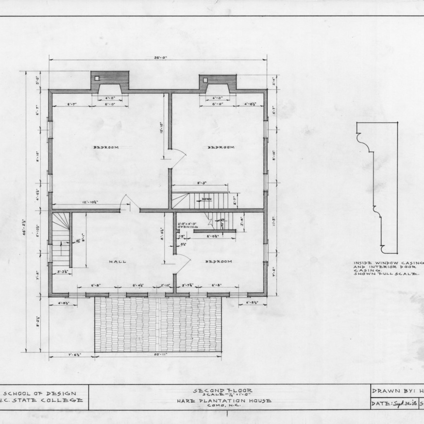 Second floor plan and detail, Hare Plantation, Como, North Carolina