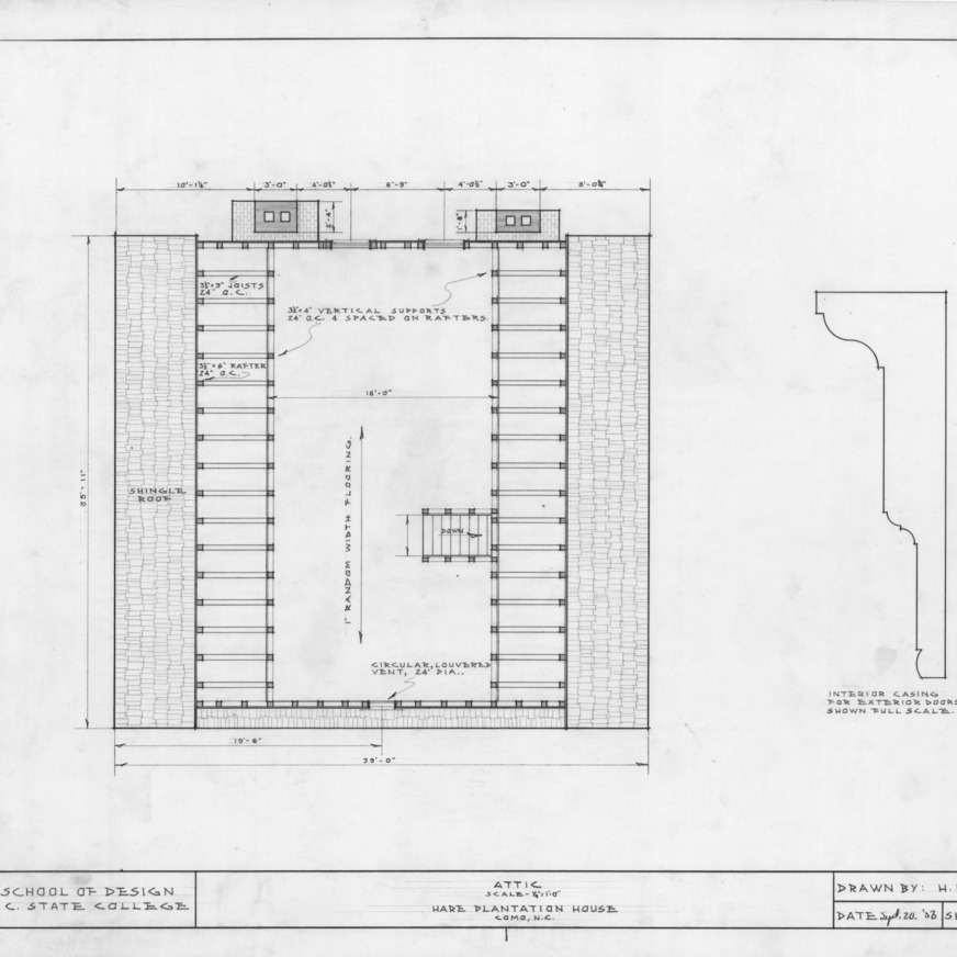 Attic plan and detail, Hare Plantation, Como, North Carolina