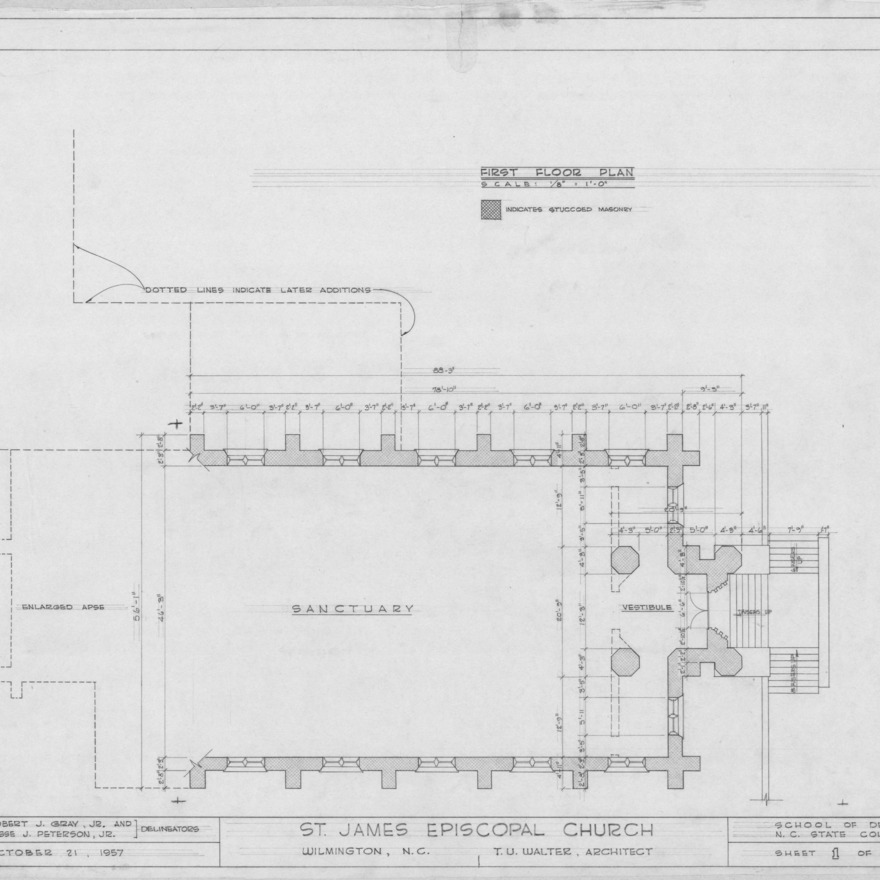 First floor plan, St. James Episcopal Church, Wilmington, North Carolina