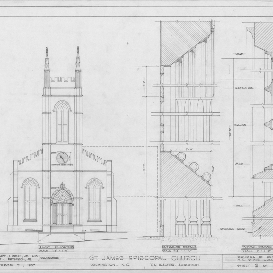 West elevation and details, St. James Episcopal Church, Wilmington, North Carolina