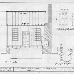 Longitudinal section and details, Thomas Ruffin Law Office, Hillsborough, North Carolina