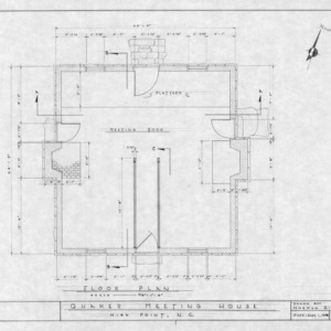 First floor plan, Jamestown Friends Meeting House, Jamestown, North Carolina