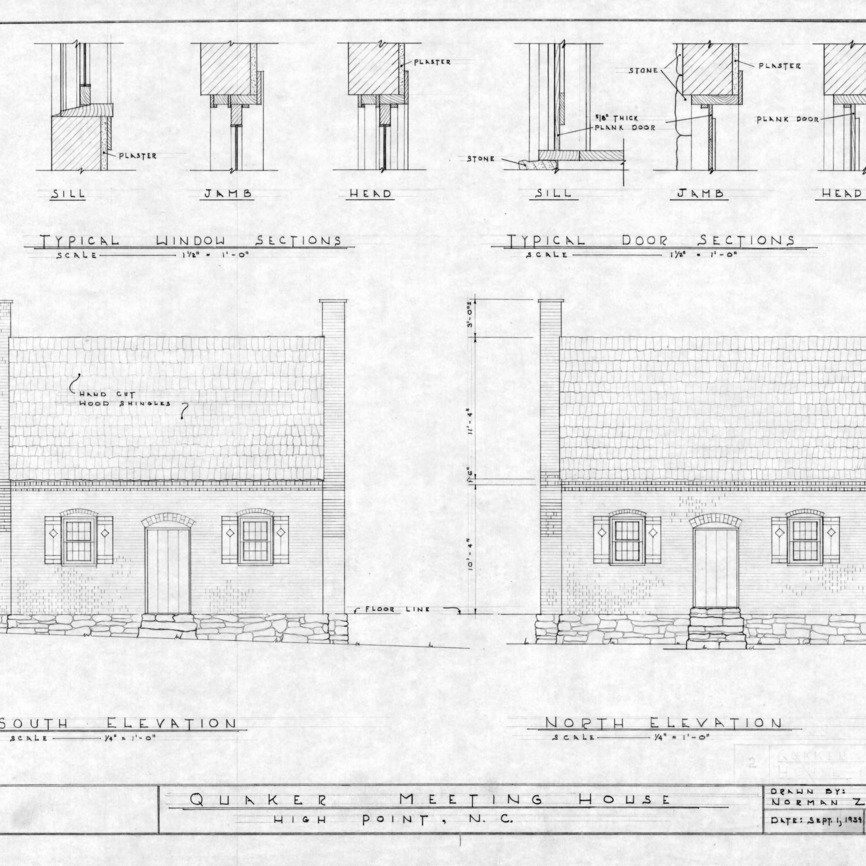 South elevation, north elevation, and details, Jamestown Friends Meeting House, Jamestown, North Carolina