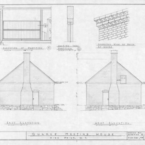 East elevation, west elevation, and details, Jamestown Friends Meeting House, Jamestown, North Carolina