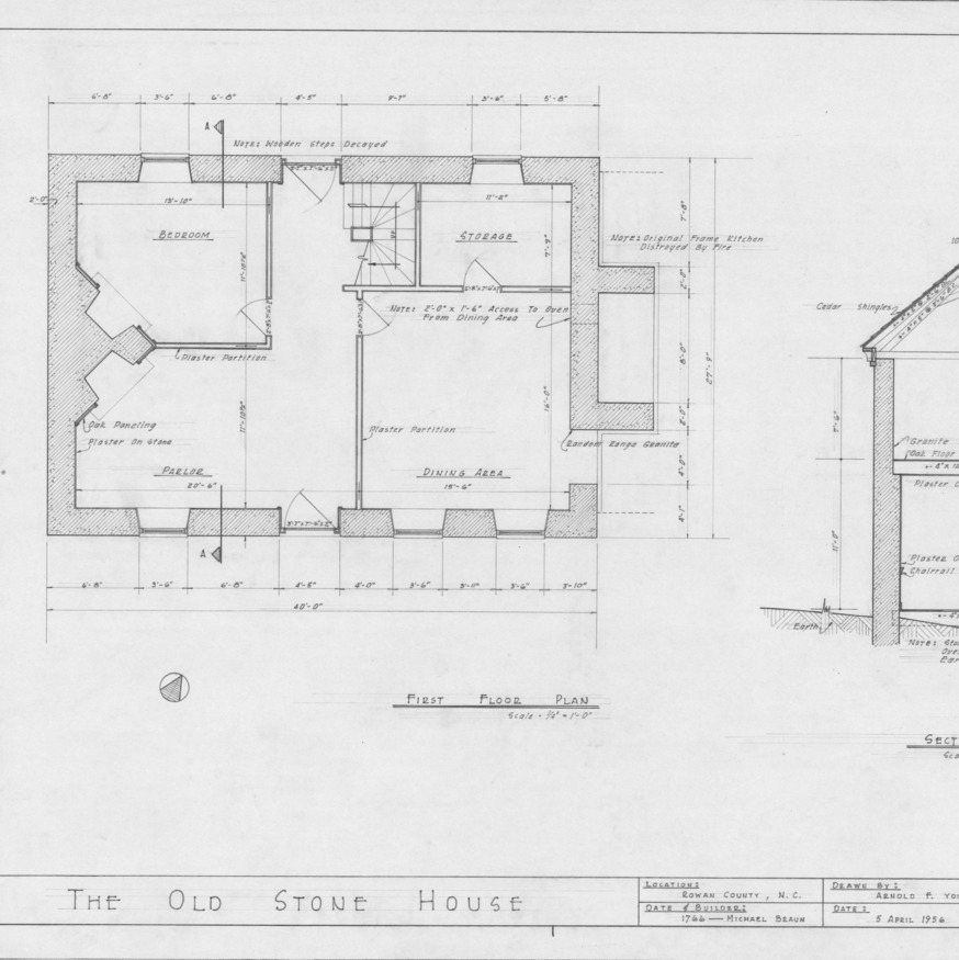 First floor plan and partial cross section, Michael Braun House, Rowan County, North Carolina