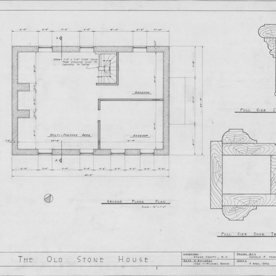 Second floor plan and details, Michael Braun House, Rowan County, North Carolina