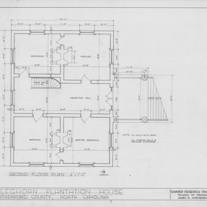 Second floor plan, Cleghorn, Rutherford County, North Carolina