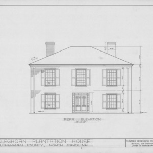 Rear elevation, Cleghorn, Rutherford County, North Carolina