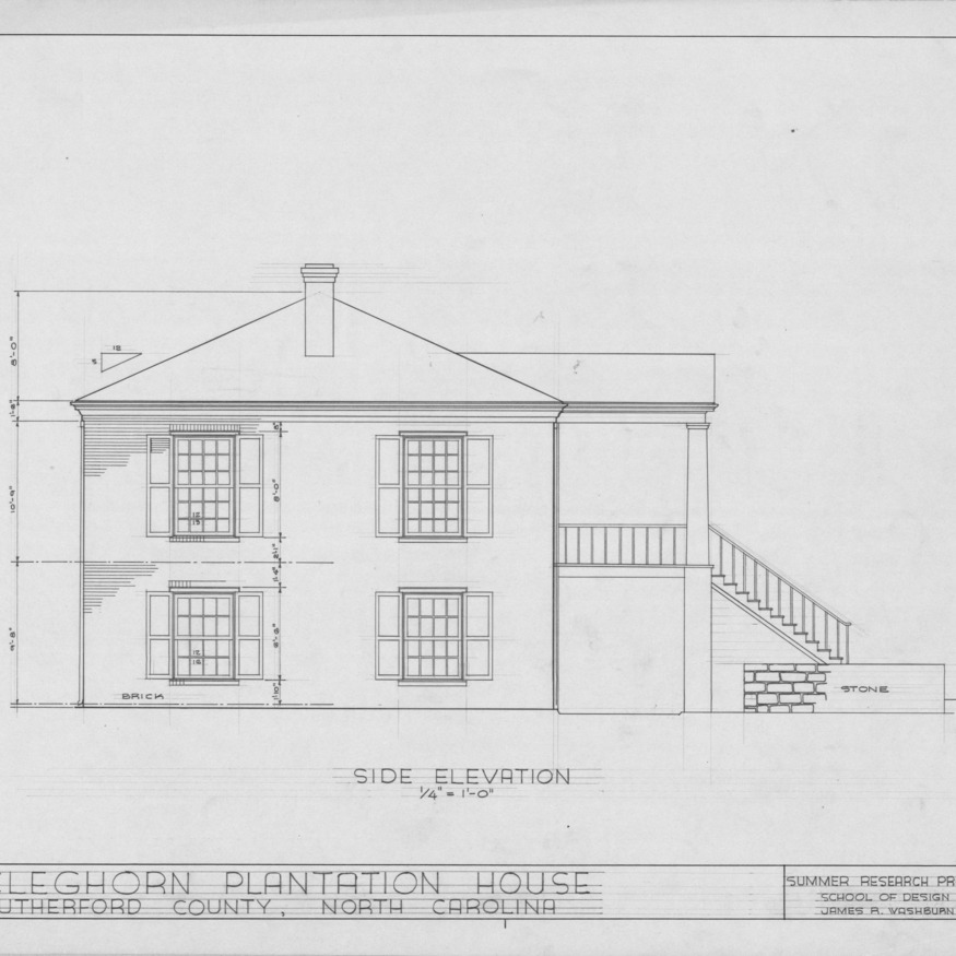 Side elevation, Cleghorn, Rutherford County, North Carolina