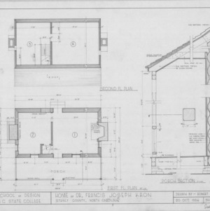 Floor plans and porch section, Dr. Francis J. Kron House, Stanly County, North Carolina