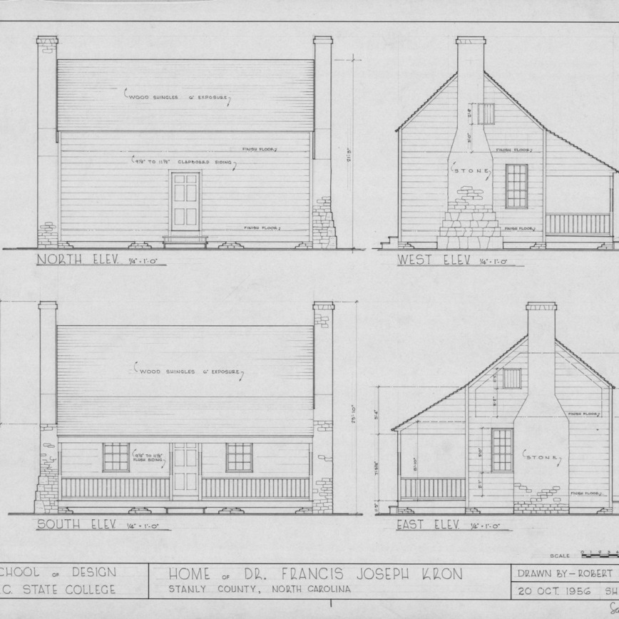 Elevations, Dr. Francis J. Kron House, Stanly County, North Carolina