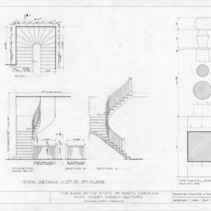 Second floor stairway details, State Bank of North Carolina, Raleigh, North Carolina
