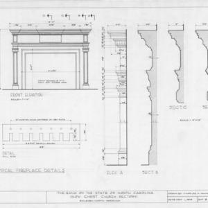 Fireplace details, State Bank of North Carolina, Raleigh, North Carolina
