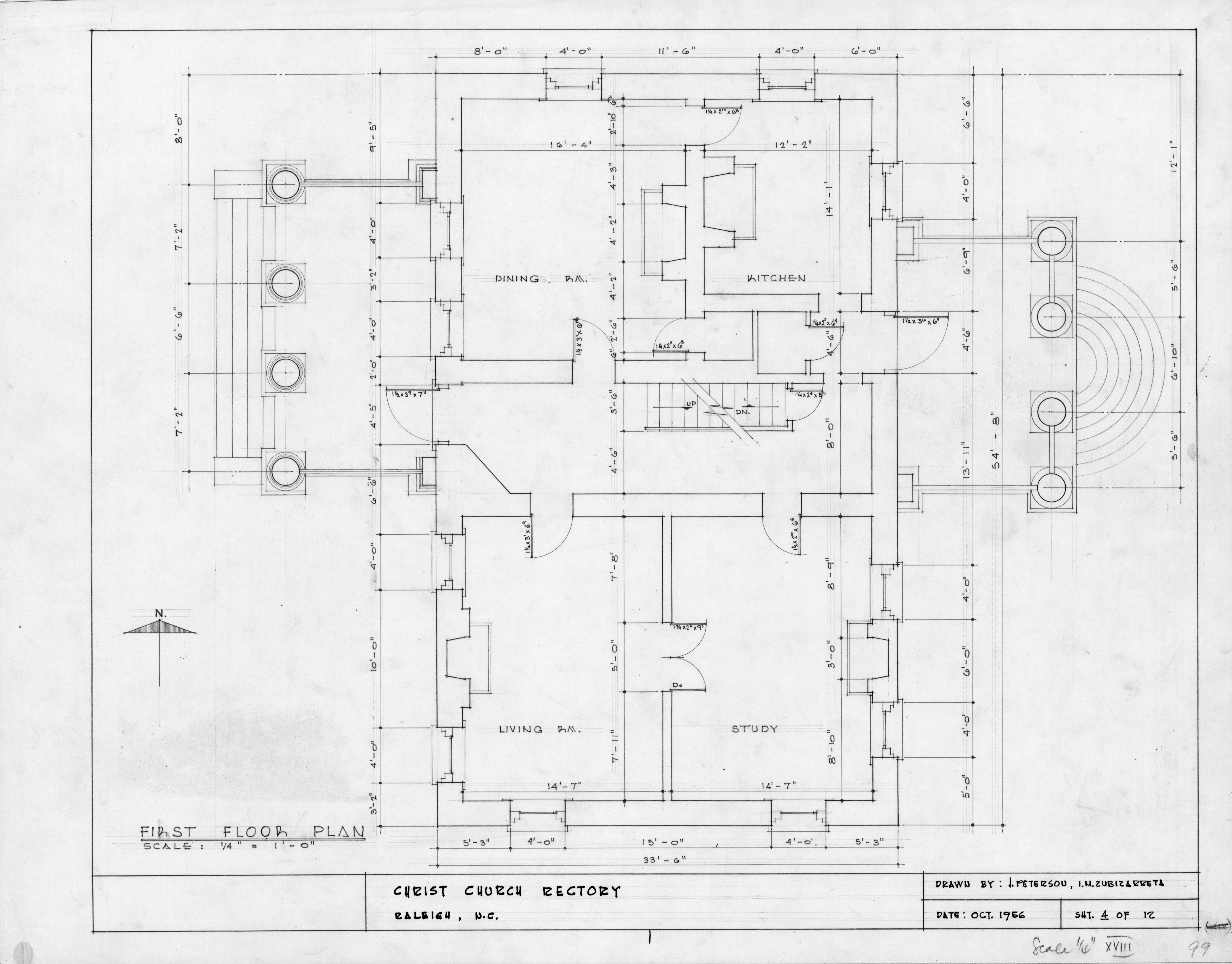 First floor plan, State Bank of North Carolina, Raleigh