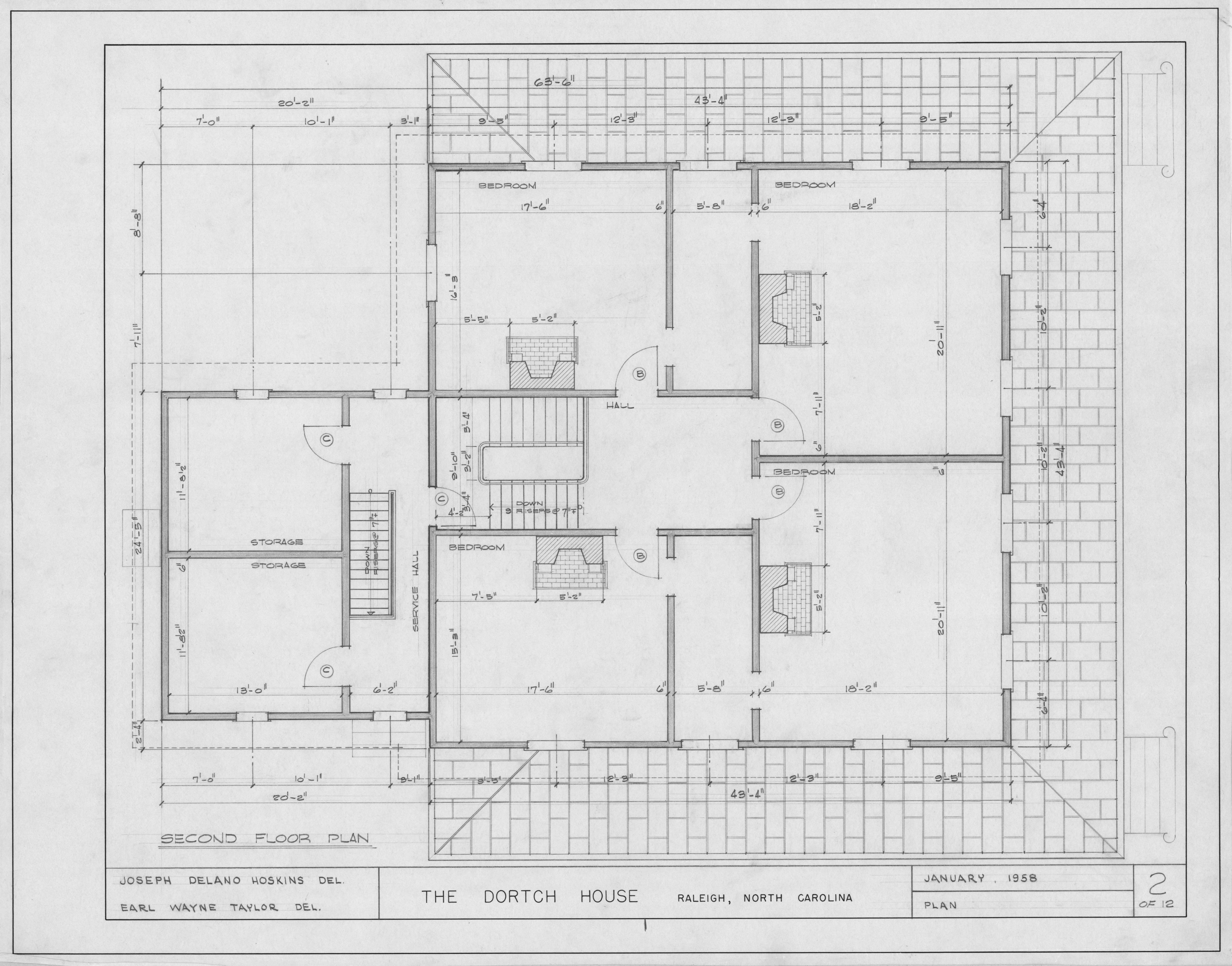 Second Floor Plan Dortch House Raleigh North Carolina