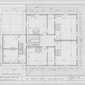 Second floor plan, Dortch House, Raleigh, North Carolina