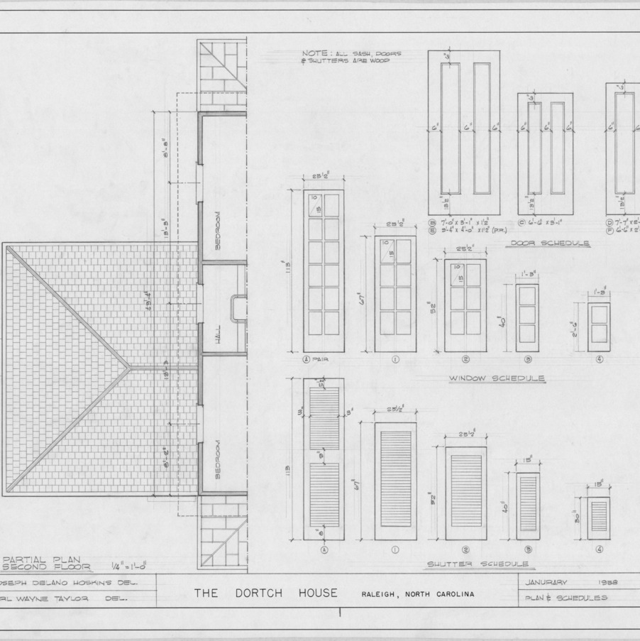 Partial plan and schedules, Dortch House, Raleigh, North Carolina