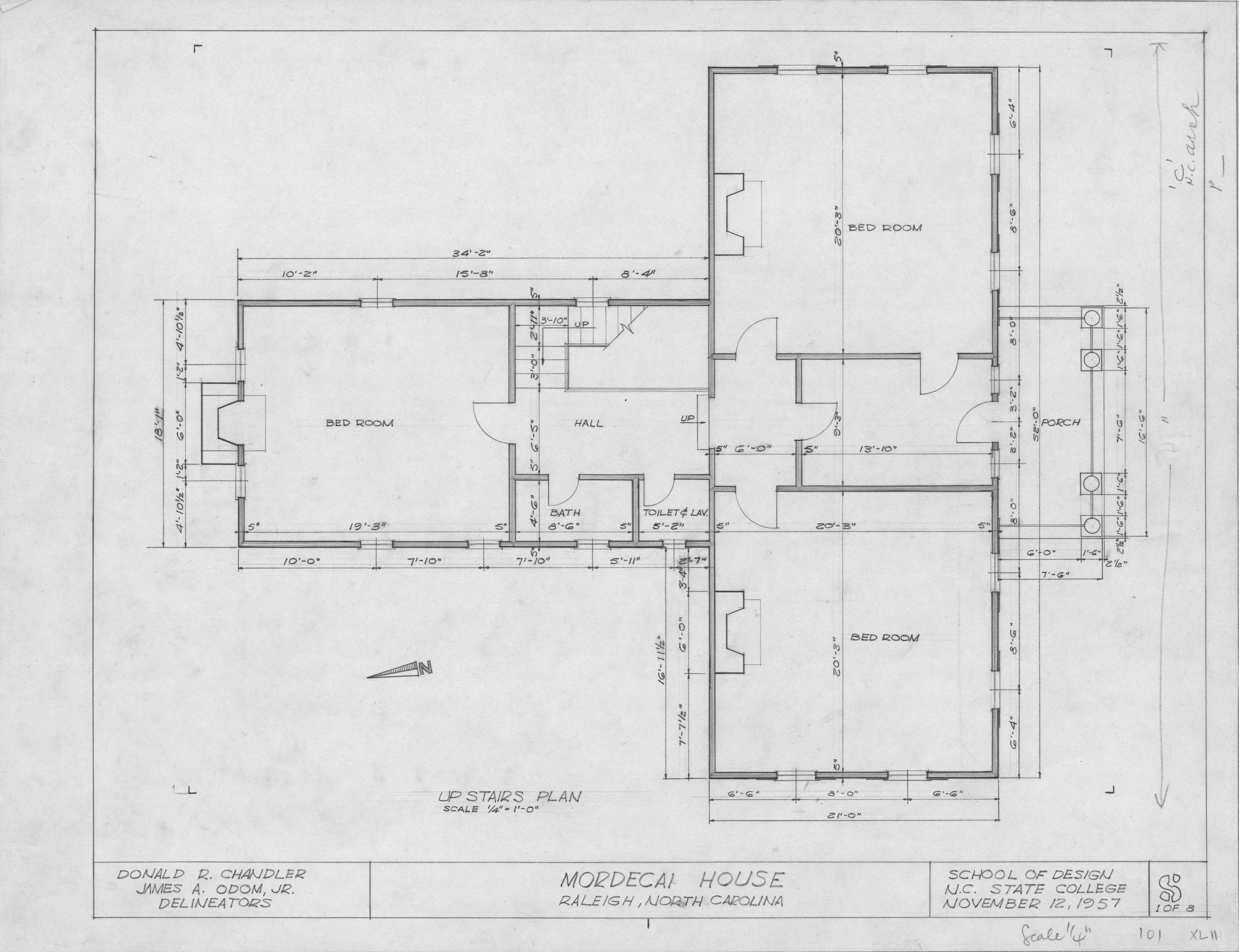 Second Floor Plan Mordecai House Raleigh North Carolina