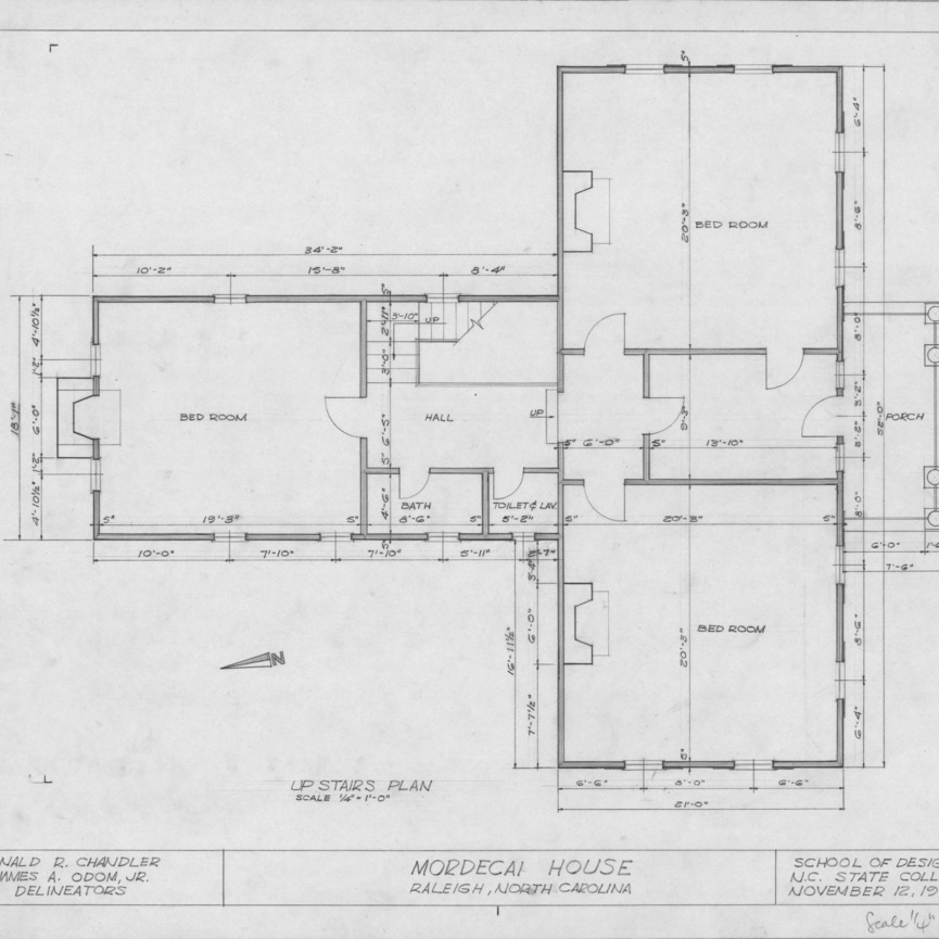 Second floor plan, Mordecai House, Raleigh, North Carolina