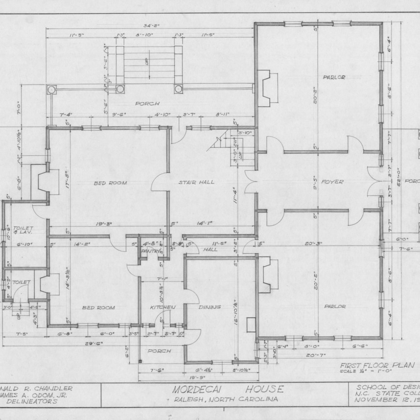 First floor plan, Mordecai House, Raleigh, North Carolina