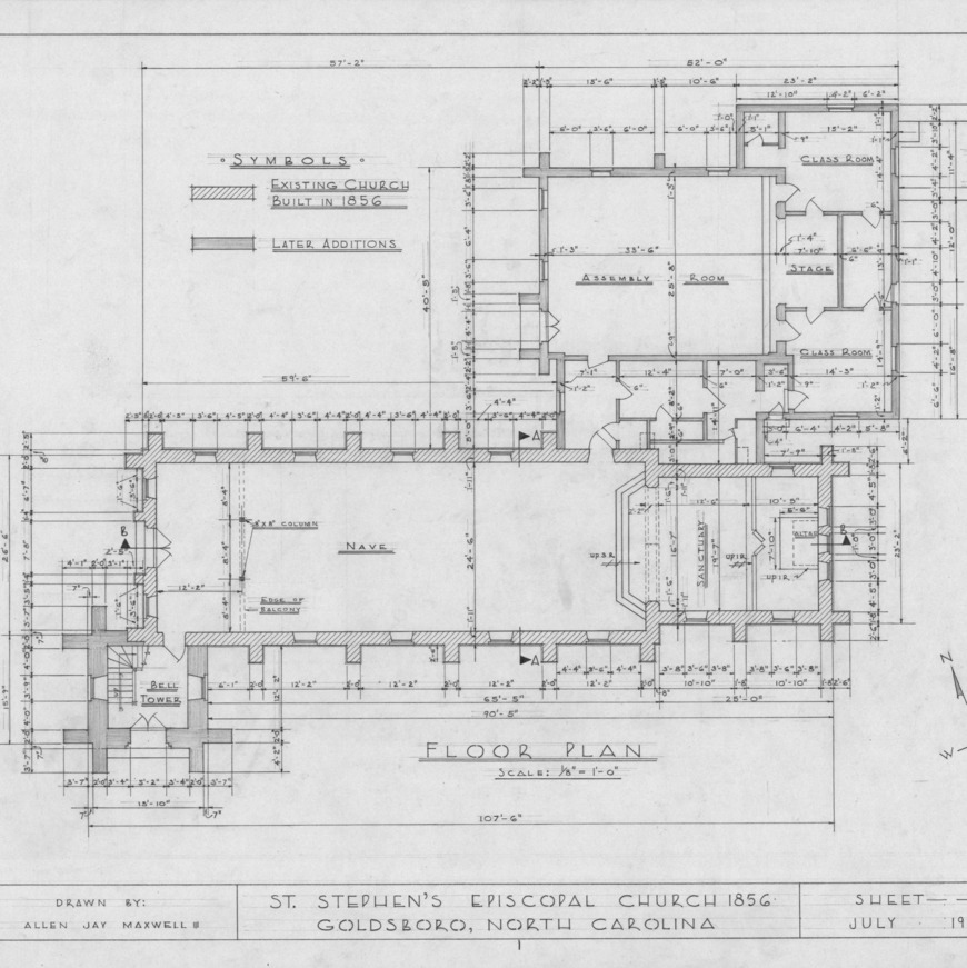 Floor plan, St. Stephen's Episcopal Church, Goldsboro, North Carolina