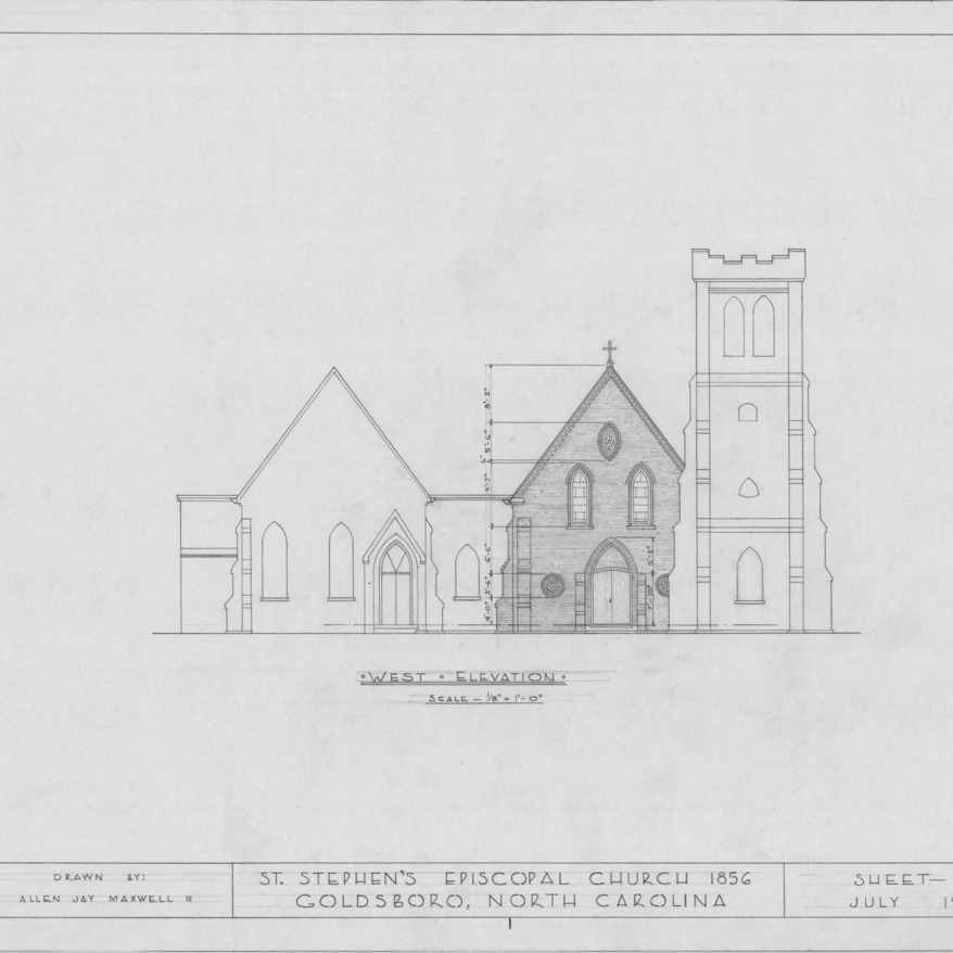 West elevation, St. Stephen's Episcopal Church, Goldsboro, North Carolina