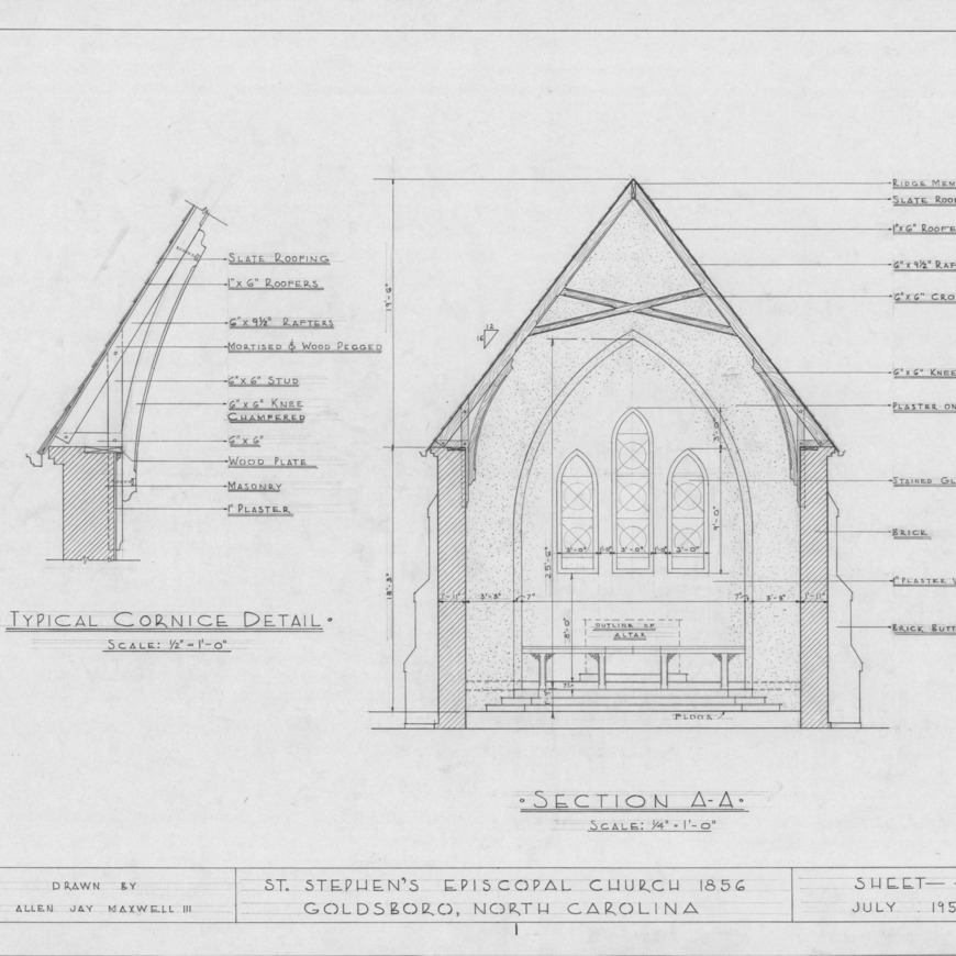 Cross section and cornice detail, St. Stephen's Episcopal Church, Goldsboro, North Carolina