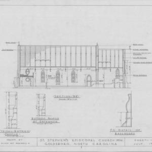 Longitudinal section and details, St. Stephen's Episcopal Church, Goldsboro, North Carolina