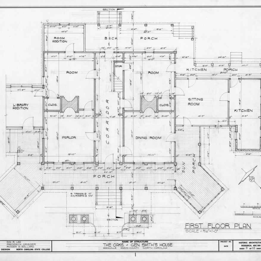 First floor plan, William Smith House, Ansonville, North Carolina
