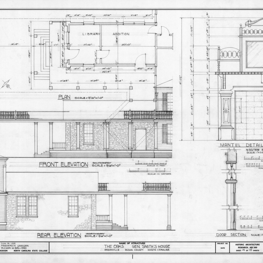 Addition floor plan, elevations, and details, William Smith House, Ansonville, North Carolina
