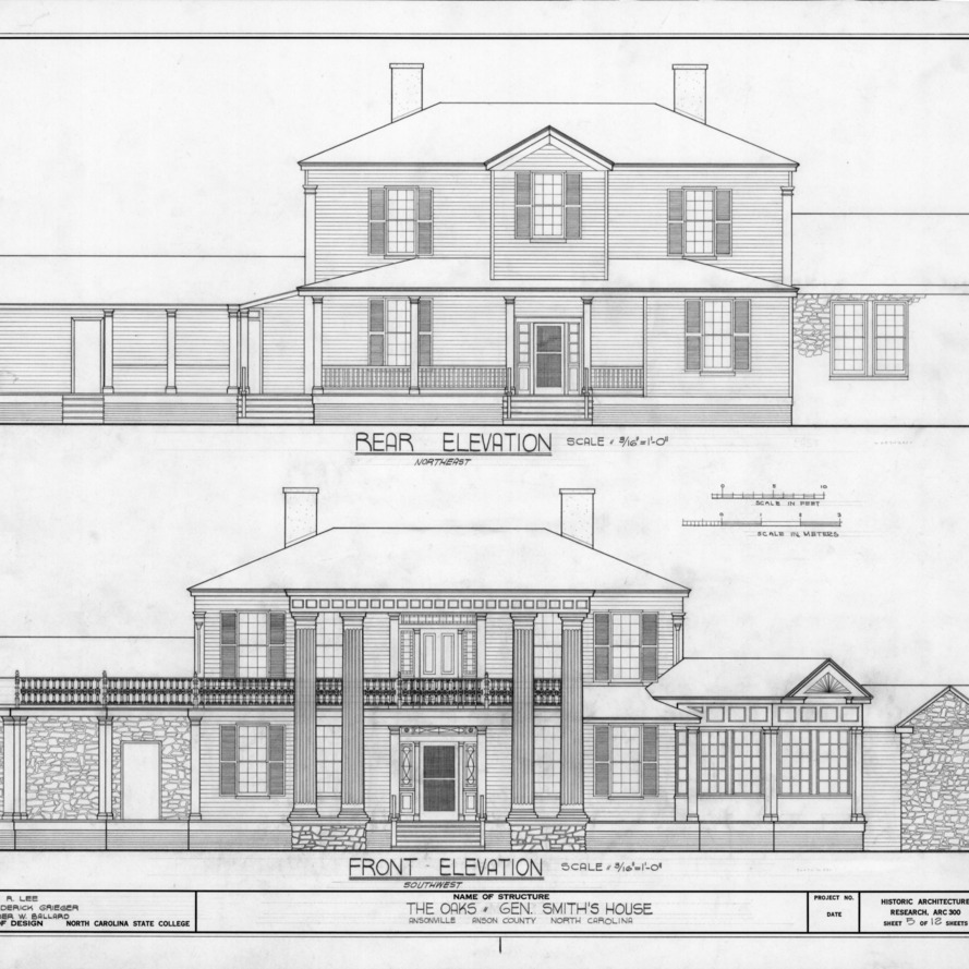 Northeast and southwest elevations, William Smith House, Ansonville, North Carolina