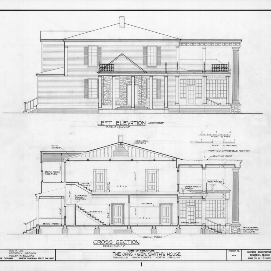 Northwest elevation and cross section, William Smith House, Ansonville, North Carolina