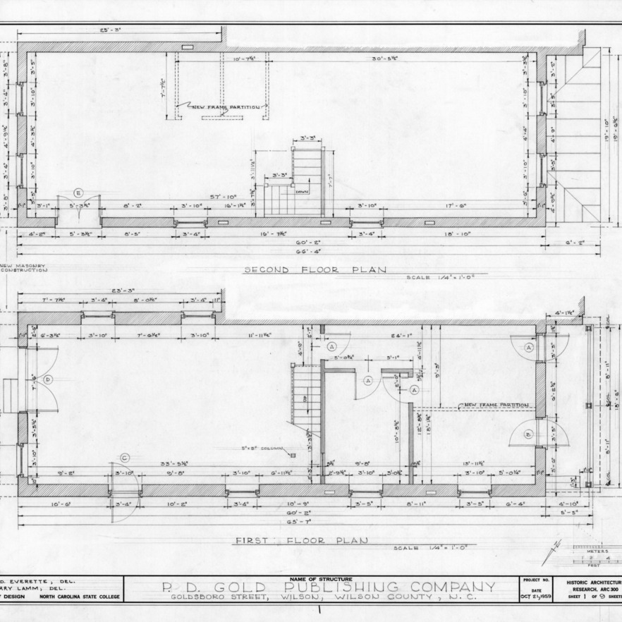 Floor plans, Old Wilson Daily Times Building, Wilson, North Carolina