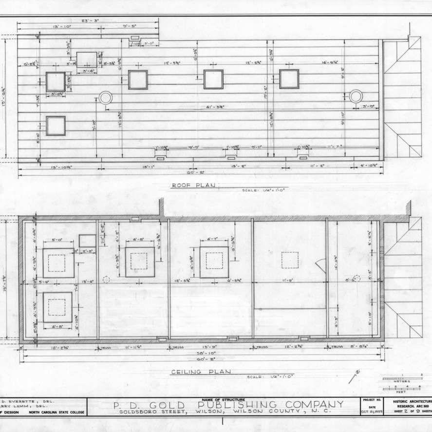 Roof and ceiling plans, Old Wilson Daily Times Building, Wilson, North Carolina