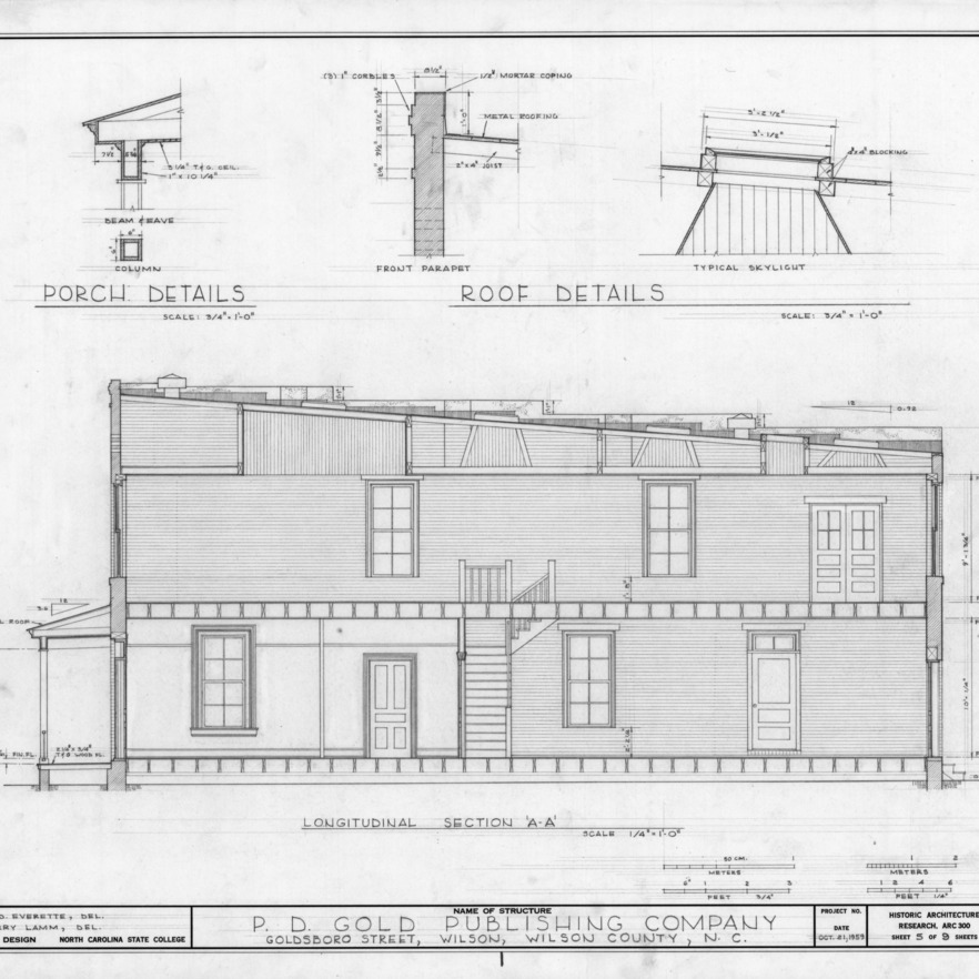 Longitudinal section and details, Old Wilson Daily Times Building, Wilson, North Carolina