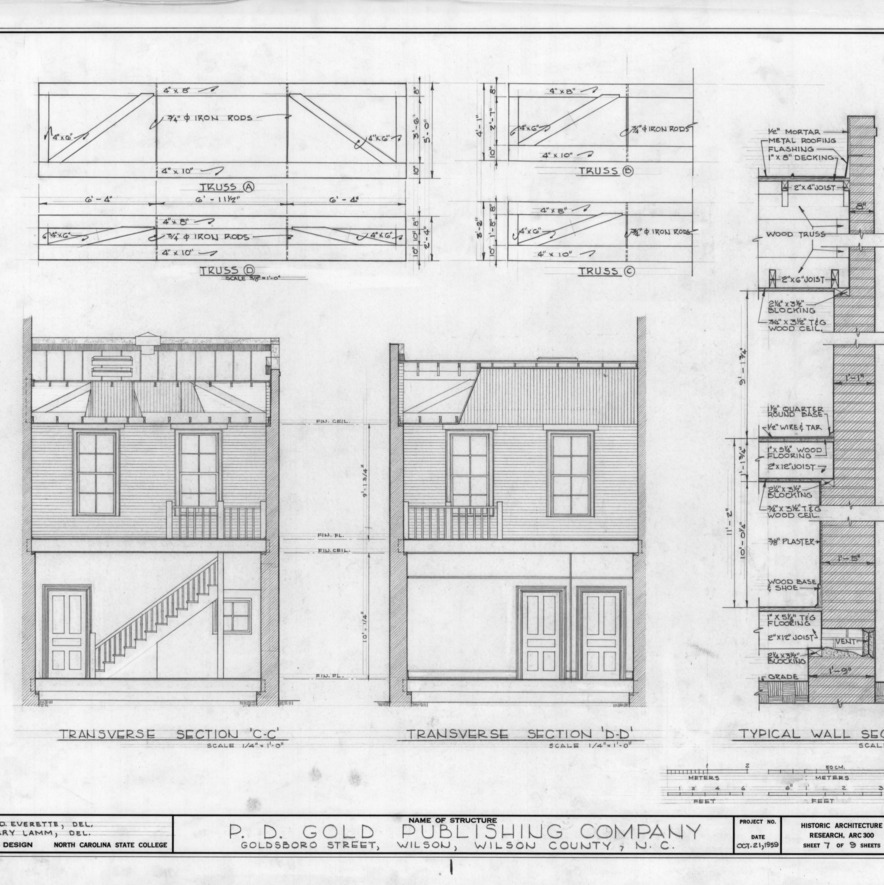 Cross sections and details, Old Wilson Daily Times Building, Wilson, North Carolina