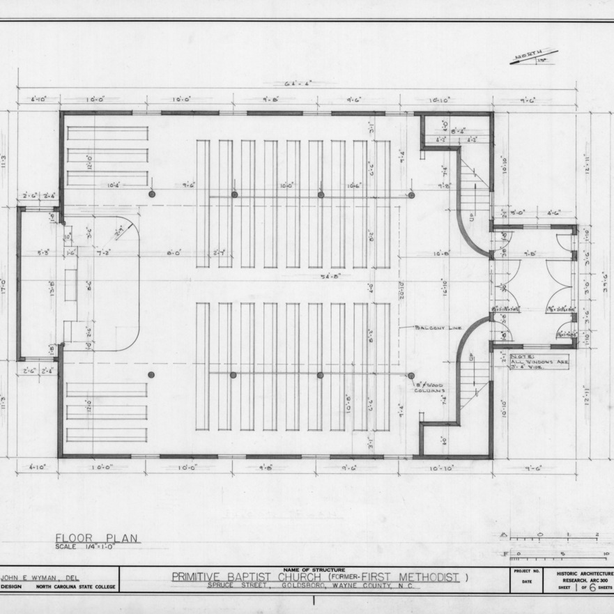 Floor plan, Primitive Baptist Church, Goldsboro, North Carolina