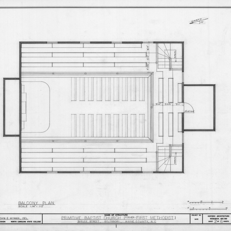 Balcony plan, Primitive Baptist Church, Goldsboro, North Carolina