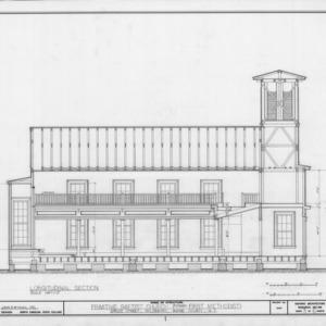 Longitudinal section, Primitive Baptist Church, Goldsboro, North Carolina