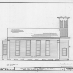Side elevation, Primitive Baptist Church, Goldsboro, North Carolina