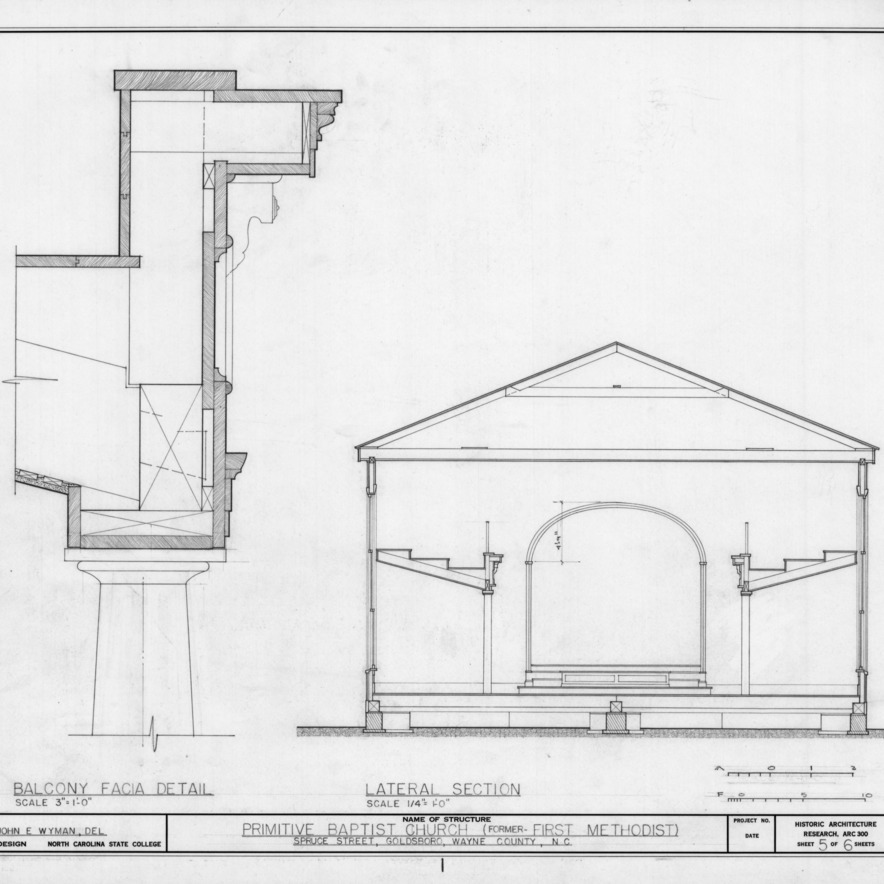 Cross section and balcony detail, Primitive Baptist Church, Goldsboro, North Carolina
