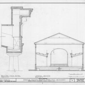 Cross section and balcony detail, Primitive Baptist Church, Goldsboro, North Carolina