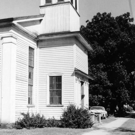 View with bell tower, Primitive Baptist Church, Goldsboro, North Carolina