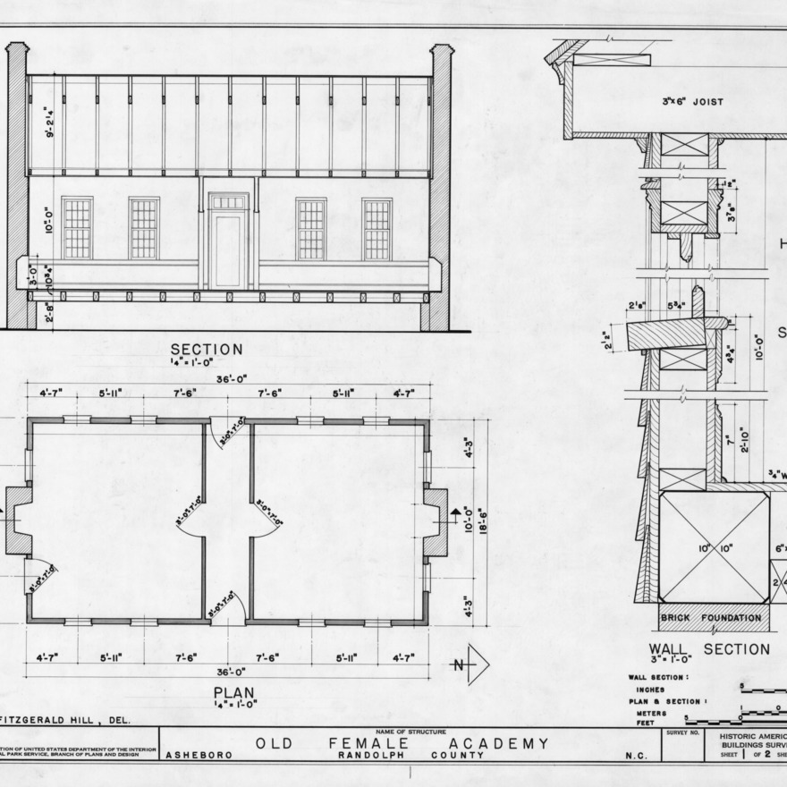 Longitudinal section, floor plan, and detail, Asheboro Female Academy, Asheboro, North Carolina