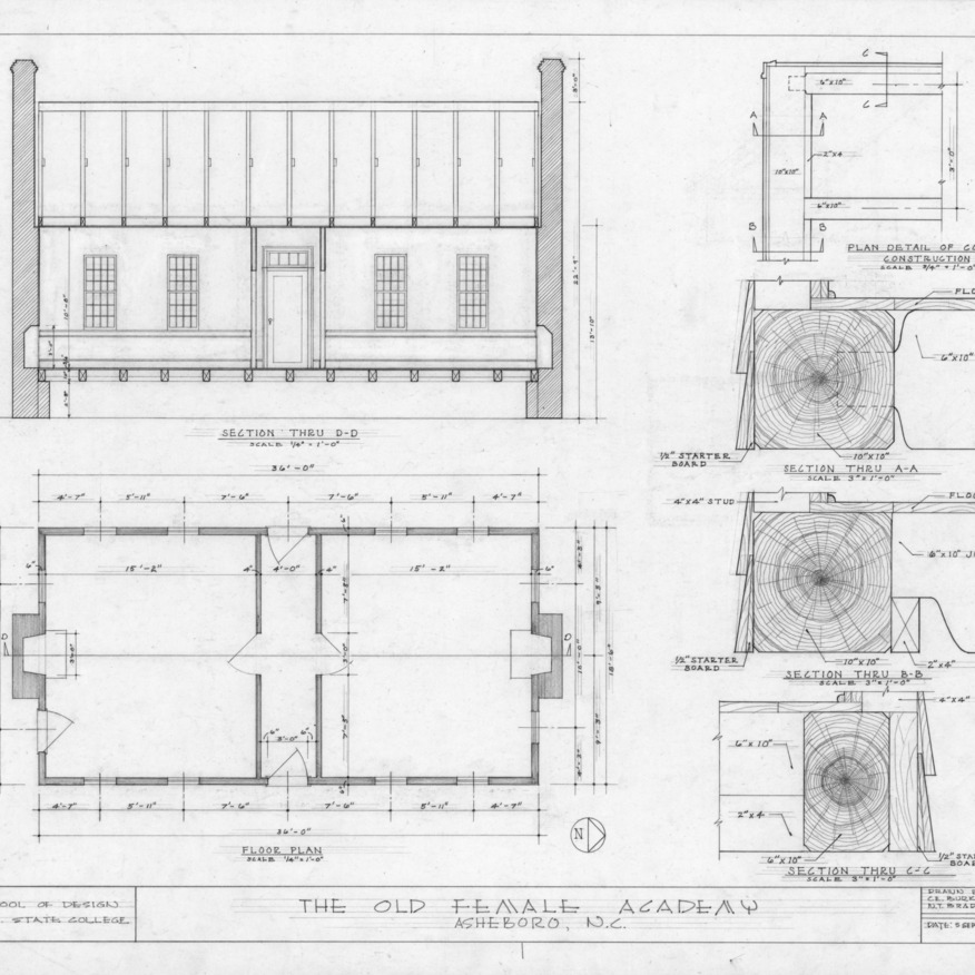 Longitudinal section, floor plan, and construction details, Asheboro Female Academy, Asheboro, North Carolina