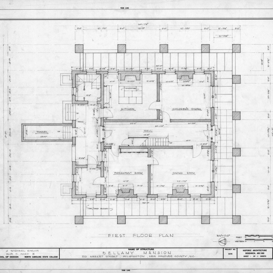 First floor plan, Bellamy Mansion, Wilmington, North Carolina