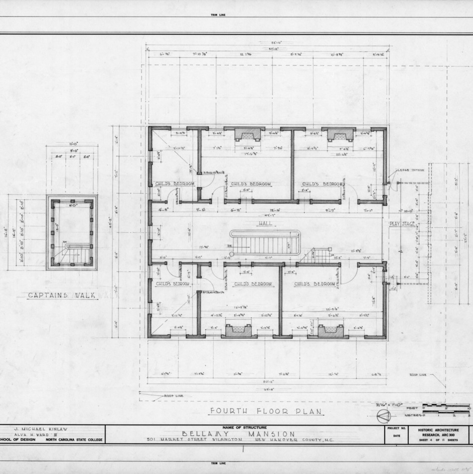 Fourth floor plan, Bellamy Mansion, Wilmington, North Carolina